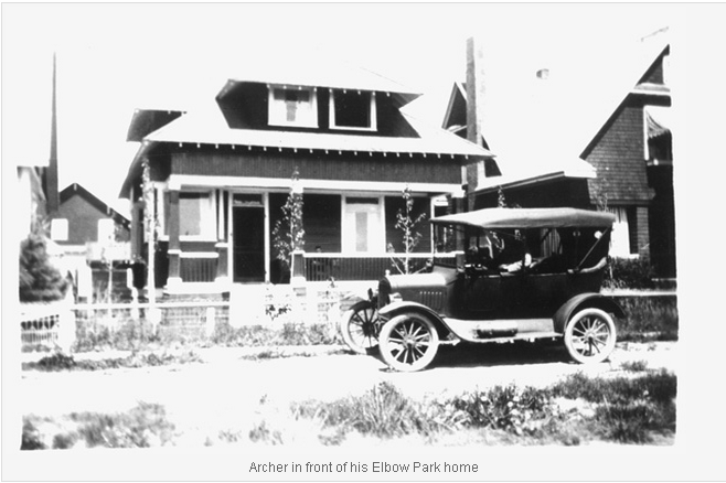 Archer in front of his Elbow Park home