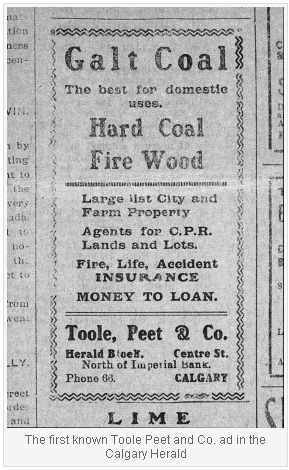 The first known Toole Peet and Co ad in the Calgary Herald