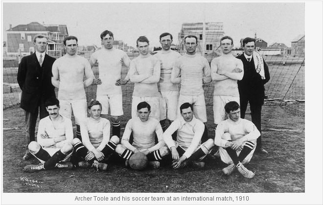 Archer Toole and his soccer team at an international match 1910