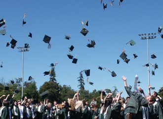 Group Of Students Celebrating Graduating and Throwing Caps