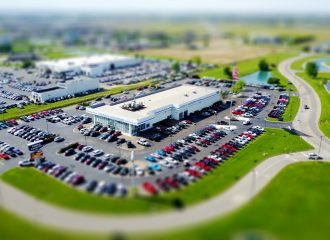 a picture of an auto dealer taken from the sky