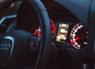 auto steering wheel and gauge cluster