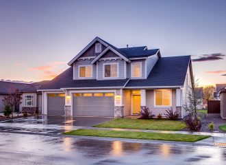 exterior view of a home at sunset