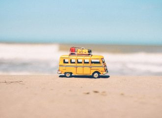 microbus toy on the beach