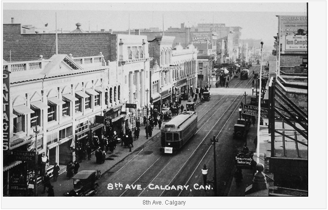 8th ave Calgary with tram cars