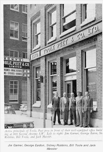 Jim Garner, George Eaton, Sidney Robbins Bill Toole and Jack Massier outside Toole Peet Insurance