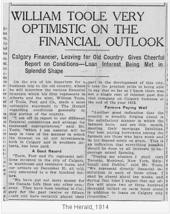 Calgary Herald article 1914 with William Toole Financial predictions