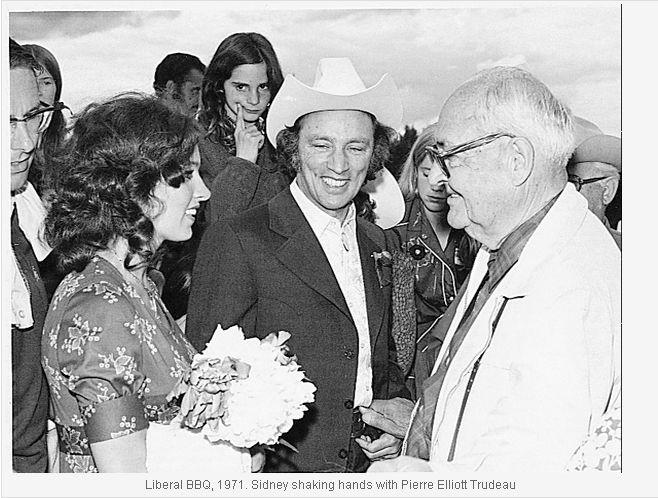 Liberal BBQ 1971 Sidney shaking hands with Pierre Elliot Trudeau
