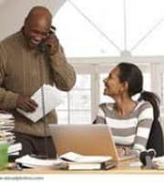 a man and a woman operating a home based business
