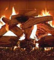 crackling logs in a fireplace