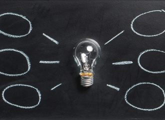 lightbulb laying on chalkboard with mind map drawn around it
