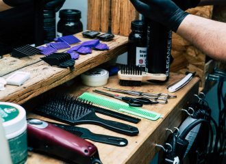 salon workstation with combs and brushes