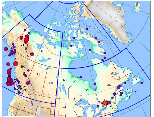 Canadian Earthquake map