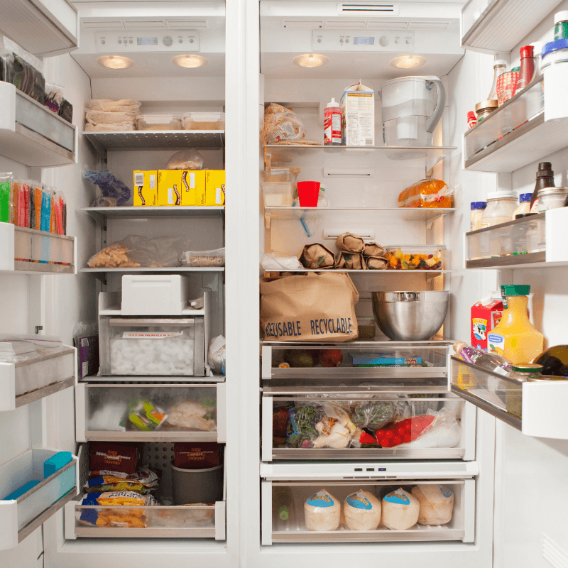 Picture of an open fridge